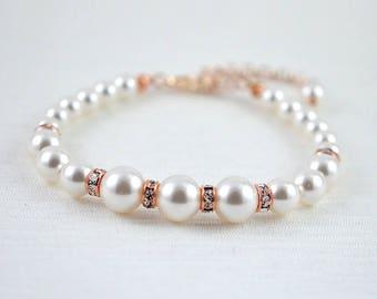 Pearl Bridal Wedding Bracelet, Pearl Bridesmaids Bracelet, Pearl Bracelet, Swarovski Pearl Bracelet, Rose gold bracelet, Swarovski Rose gold