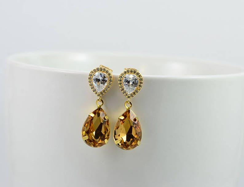 Topaz Teardrop Bridal Earrings Bridesmaids Cubic Zirconia Gold Wedding Earrings Vintage Topaz Teardrop Earrings Jewellery Bridal Jewellery