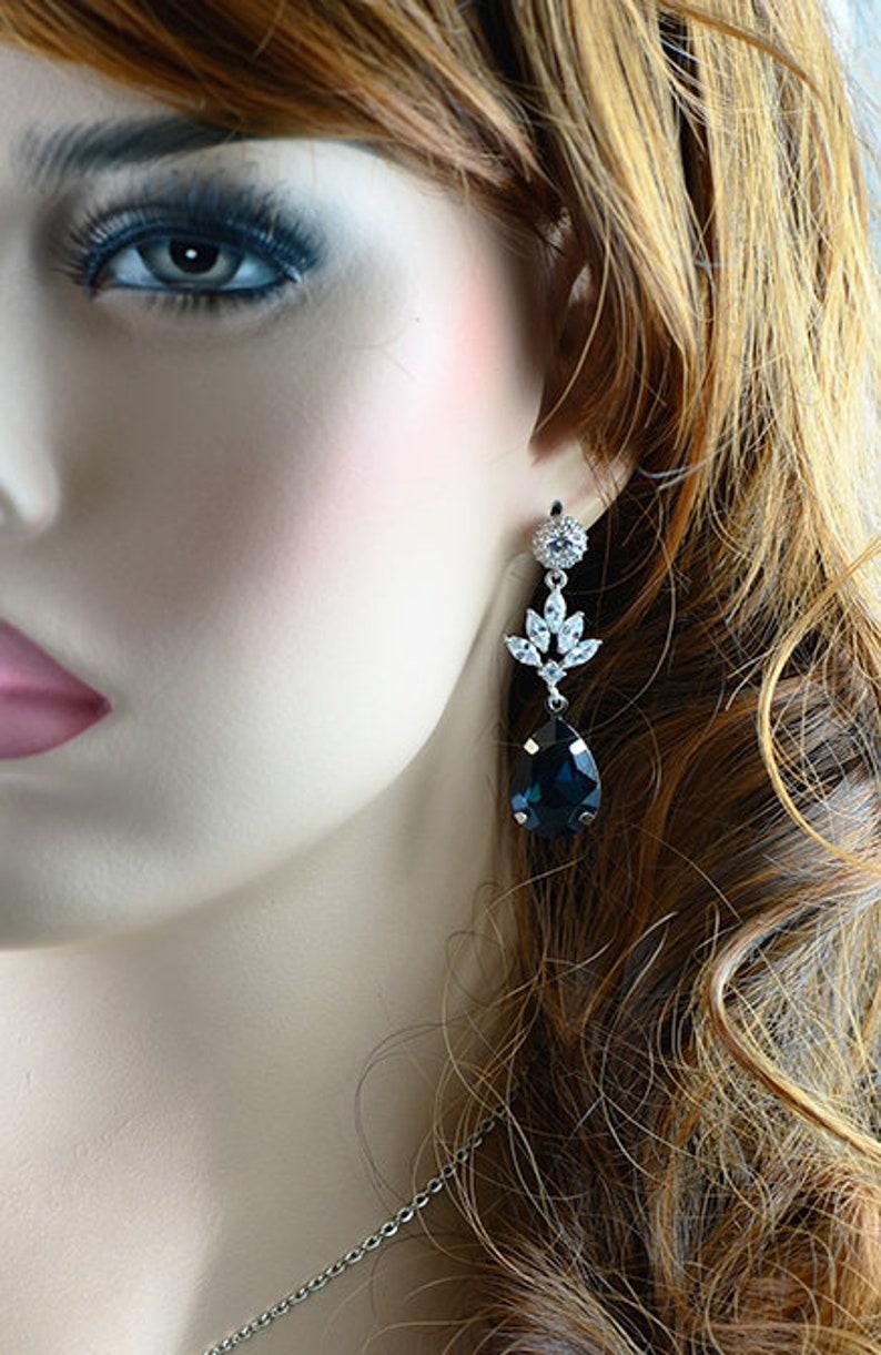 Blue Bridal Necklace Sapphire Earrings jewellery Cubic Zirconia Bridal Jewelry Set Sapphire TearDrop earrings Crystal Earrings Necklace