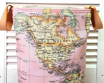 Pink world map etsy pink retro hamper world map vintage atlas small round tall storage organizer basket bag natural pink leather handles handmade fabric gift gumiabroncs Image collections