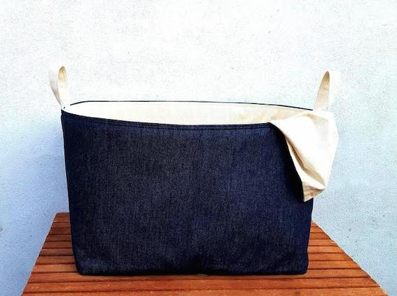 3122281b9e632 DENIM LAUNDRY BAG Navy Blue Natural Reversible Hamper Storage | Etsy