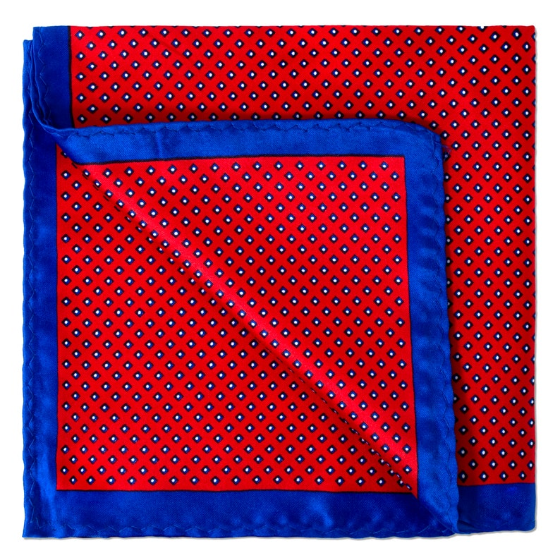 Square Dots Print Pocket Square in Red and Electric Blue Trimmings