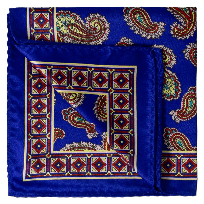 Wide Paisley Design Pocket Square on Electric Blue with Square Quilt Block Borders with Burgundy Details
