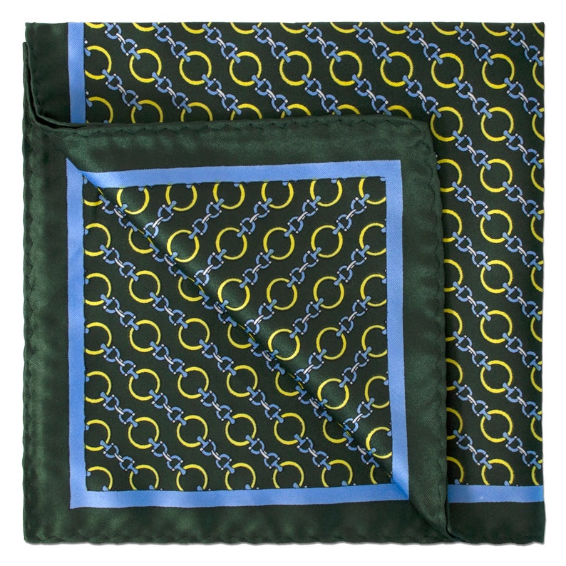 Link Chain Pocket Square in Dark Green with Yellow and Light Blue details