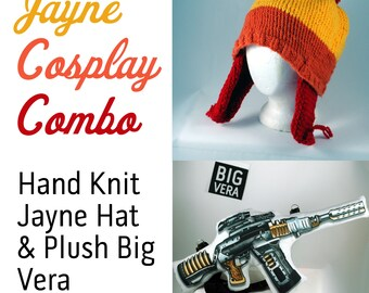 Jayne Hat & Plush Gun Cosplay Combo: Firefly Jayne hat and BIG VERA plush  for Jayne Cobb Cosplay and Serenity fans!