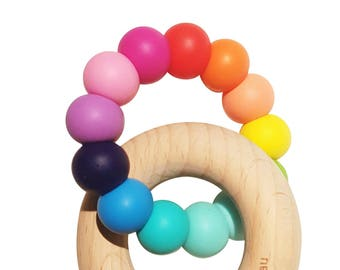 Bright Rainbow beech wood Ring Baby Teether Toy - Wild Bubz® brand - Safety certified