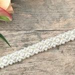 Narrow Pearl Bridal Belt or Sash, Hand Beaded in UK - Paige.