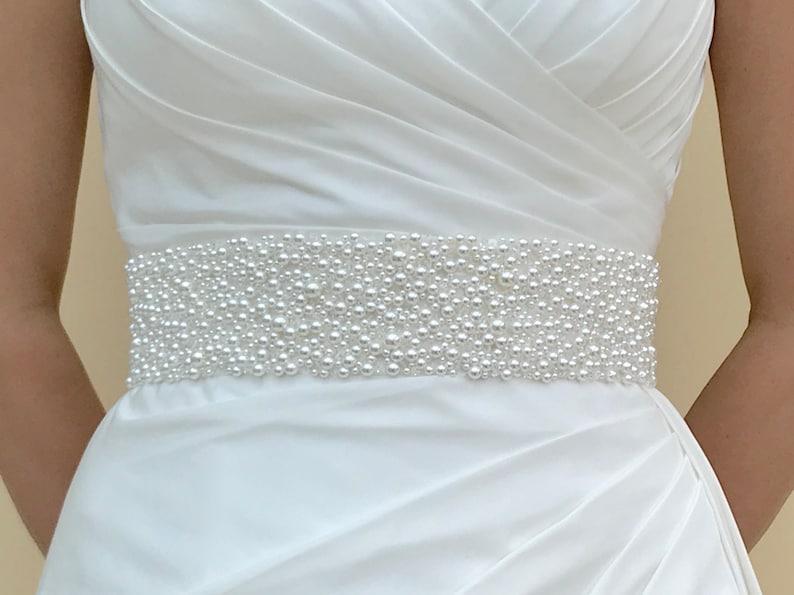 Bridal Pearl And Crystal Belt Wide Bridal Belt Wide Beaded image 0