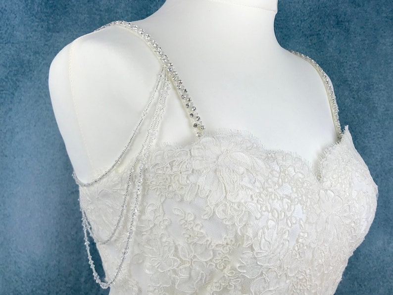 Pair Of Sparkly Beaded Attachable Bridal Straps  ELOISE image 0