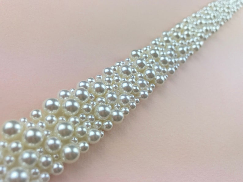 Bridal Pearl Belt  Hand Made in UK  LILY image 0