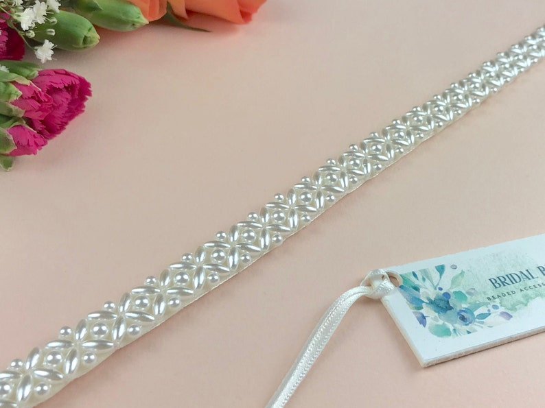 Narrow Pearl Bridal Belt or Sash Hand Beaded in UK  COCO image 0