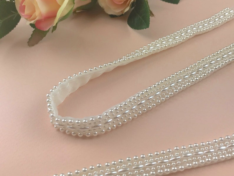 Pair Of Pearl Beaded Attachable Bridal Straps  YASMIN image 0