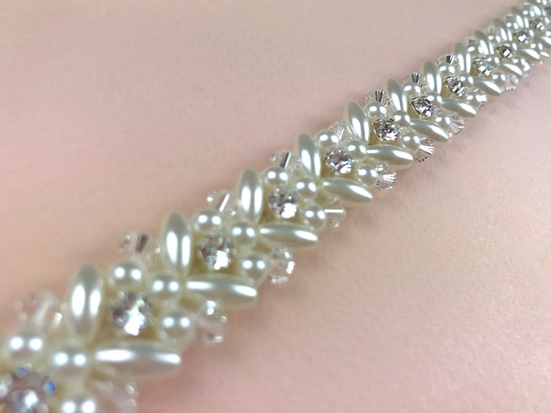 Narrow Pearl Bridal Belt Pearl Sash Wedding Belt Full image 0