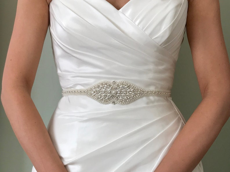 Pearl And Diamante Bridal Belt Or Sash  Hand Made and Made To image 0