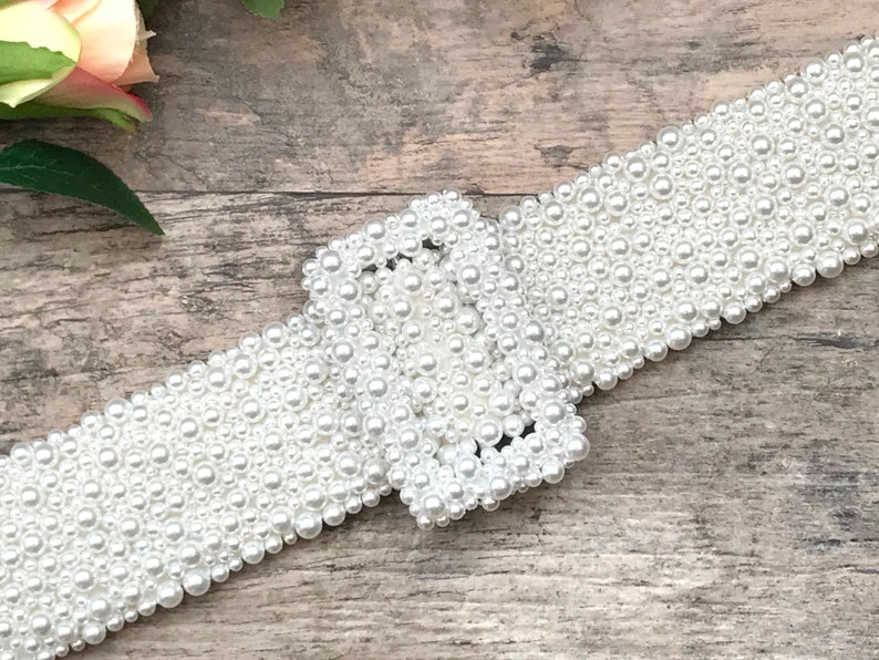 Bridal Pearl Belt and Buckle  hand made in UK  ISADORA. image 0