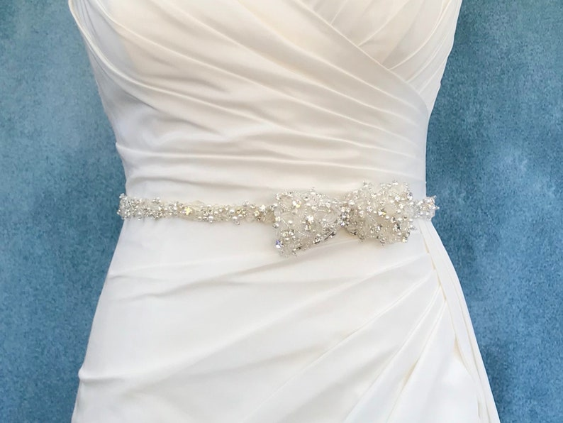 Pearl Crystal And Diamanté Bridal Belt  Made To Measure  image 0