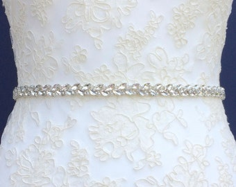 Slim Diamanté Bridal Belt Or Sash - Made To Measure - ZINNIA