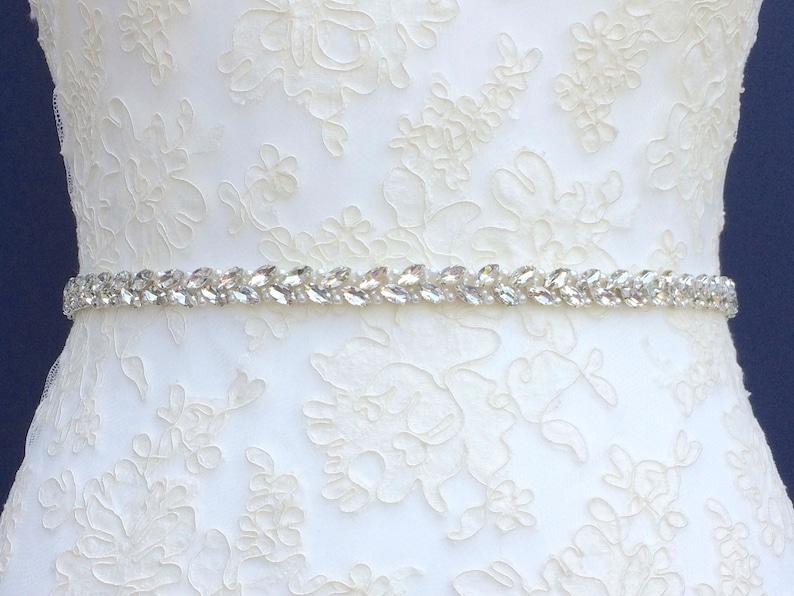 Slim Diamanté Bridal Belt Or Sash  Made To Measure  ZINNIA image 0