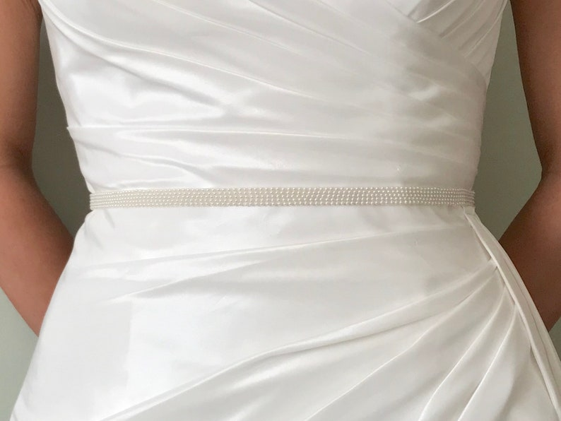 Simple Narrow Bridal Pearl Belt  Handmade  AVA image 0