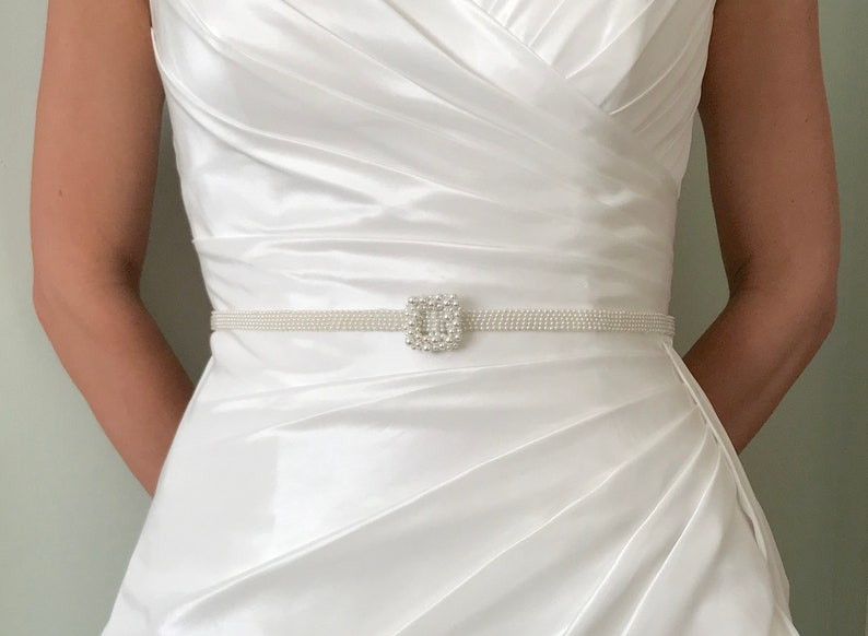 Narrow Bridal Pearl Belt and Buckle  hand made  SAMANTHA image 0