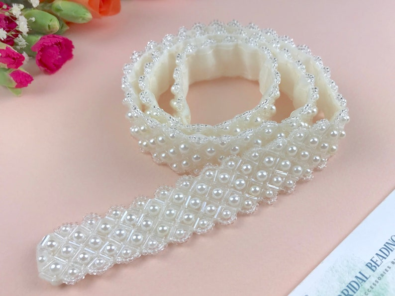 Crystal And Pearl Bridal Belt or Sash Hand Beaded in UK  image 0