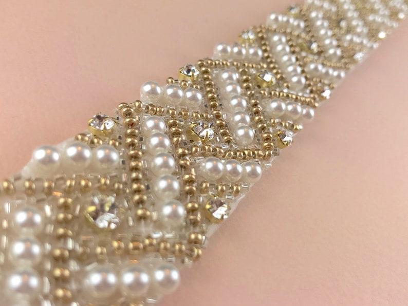 Gold And Pearl Bridal Belt  hand made in UK  SORREL image 0