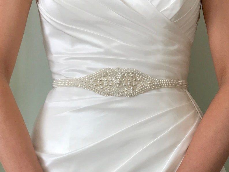 Pearl And Crystal Bridal Belt Or Sash  Hand Made and Made To image 0