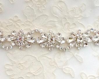 Hand Beaded Diamanté Bridal Belt Or Sash - Made To Measure - AMARA