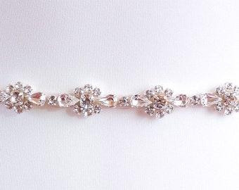 Skinny Diamanté Bridal Belt Or Sash - Made To Measure - BIJOU