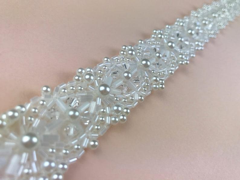 Pearl And Crystal Bridal Belt Narrow Bridal Belt Pearl Belt image 0