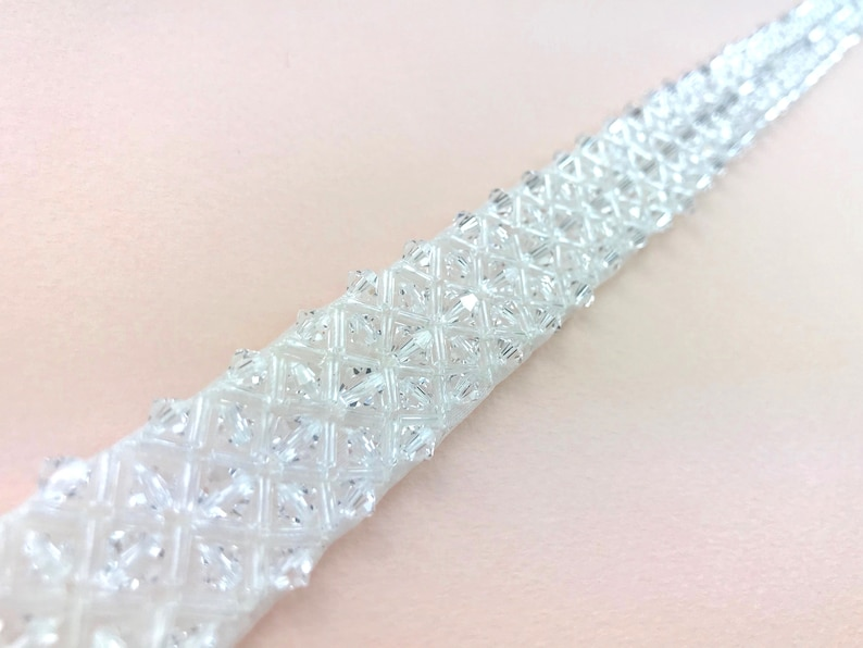 Clear Crystal Belt Or Sash  Made To Measure  DARCY image 0