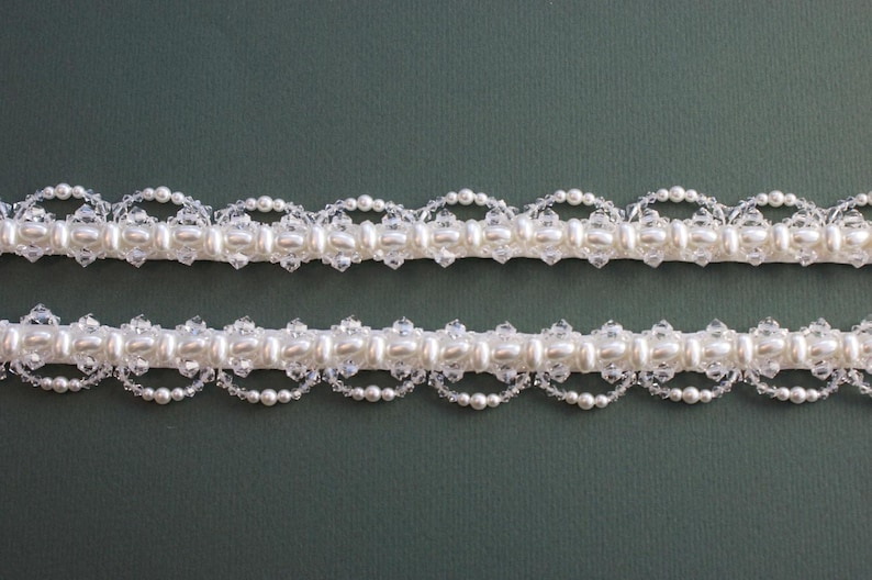 Pair Of Pearl And Crystal Attachable Bridal Straps  OPHELIA image 0