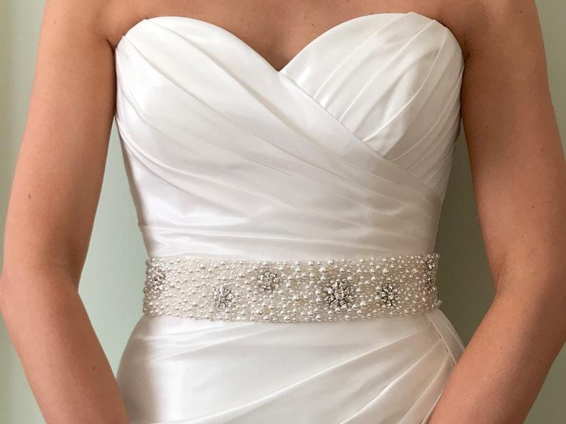 Pearl Bridal Belt Statement Bridal Belt Pearl Sash Pearl image 0