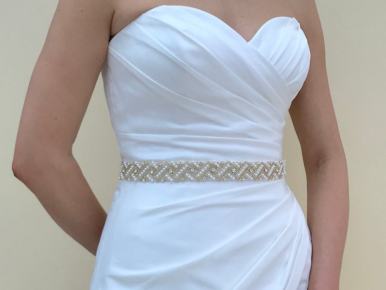 Gold Bridal Belt Gold Bridal Sash Gold Belt Clasped Pearl image 0