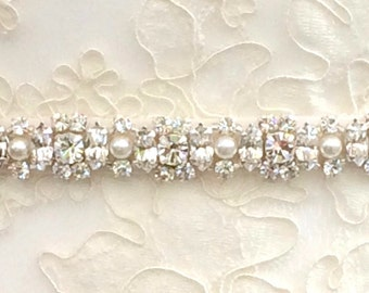 Diamanté And Pearl Bridal Belt Or Sash - Made To Measure - CAITLEN