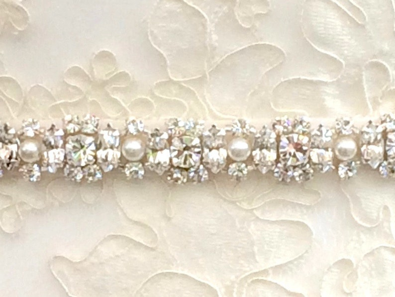 Diamanté And Pearl Bridal Belt Or Sash  Made To Measure  image 0