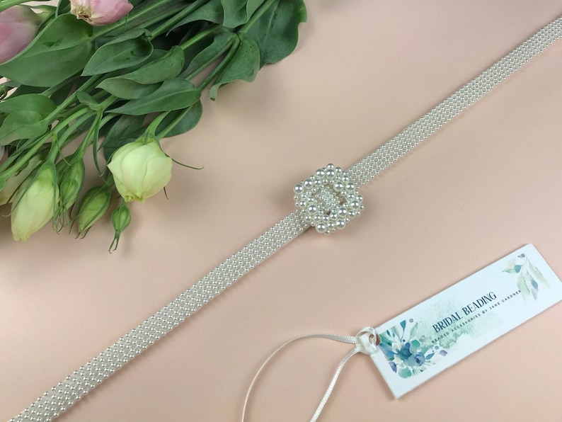 Bridal Pearl Belt and Buckle Wedding Dress Belt And Buckle image 0