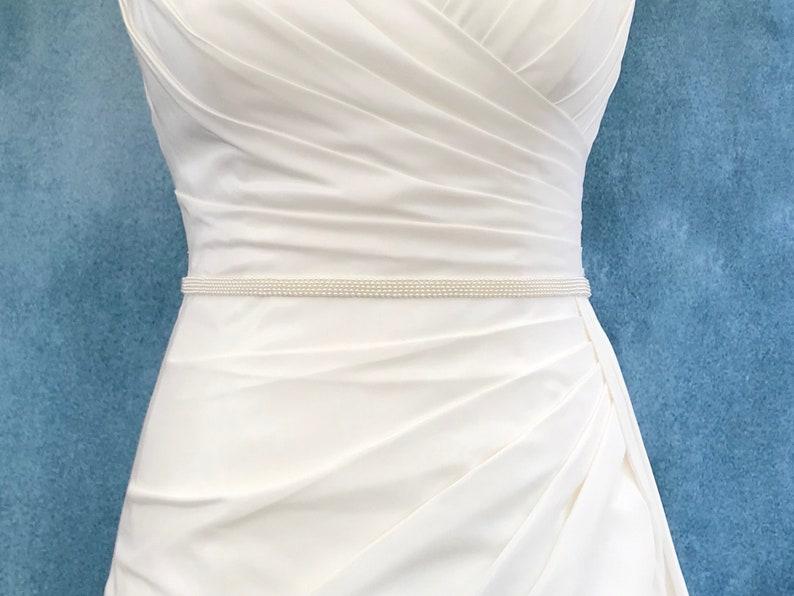Narrow Bridal Pearl Belt  hand made  SAM image 0