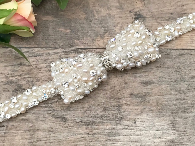 Freshwater Pearl Bridal Belt With Bow  Made To Measure  image 0