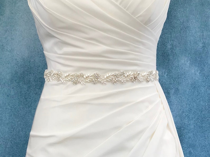 Diamanté And Pearl Bridal Belt  Made To Measure  VALENTINA image 0