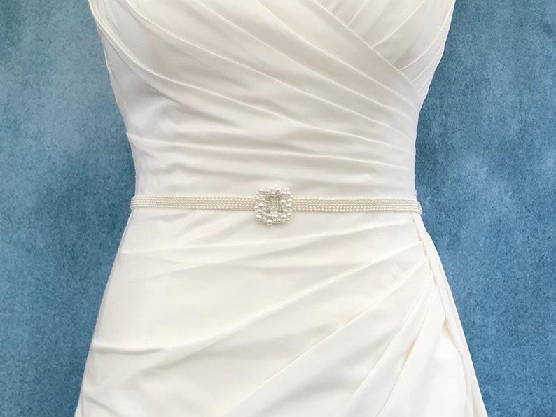 Narrow Bridal Pearl Belt and Buckle  hand made  SAMANTHA image 0