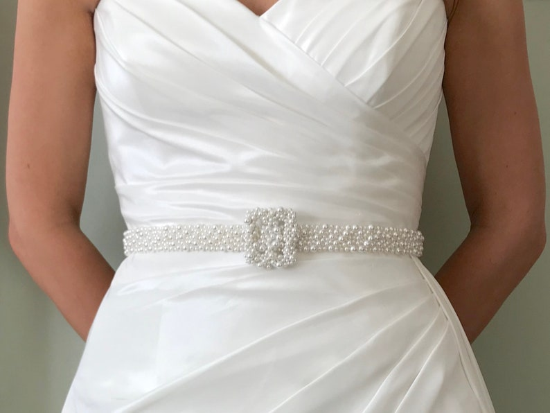 Bridal Pearl Belt and Buckle  hand made in UK  MEGAN image 0