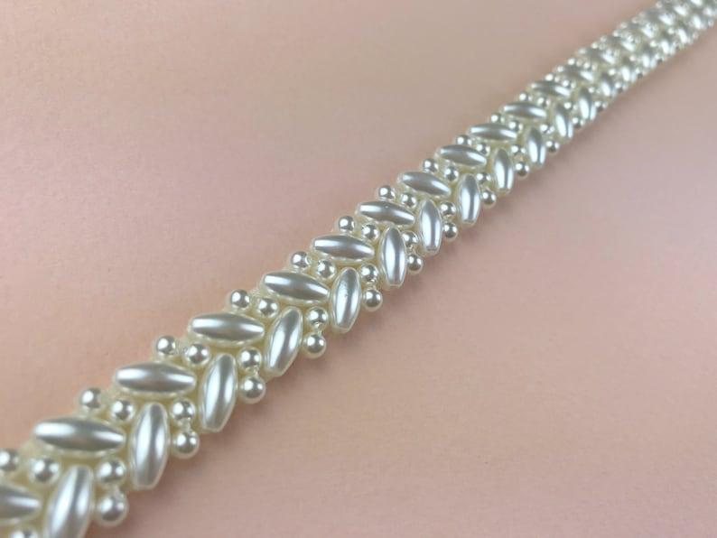 Narrow Pearl Bridal Belt or Sash Hand Beaded in UK and Made image 0