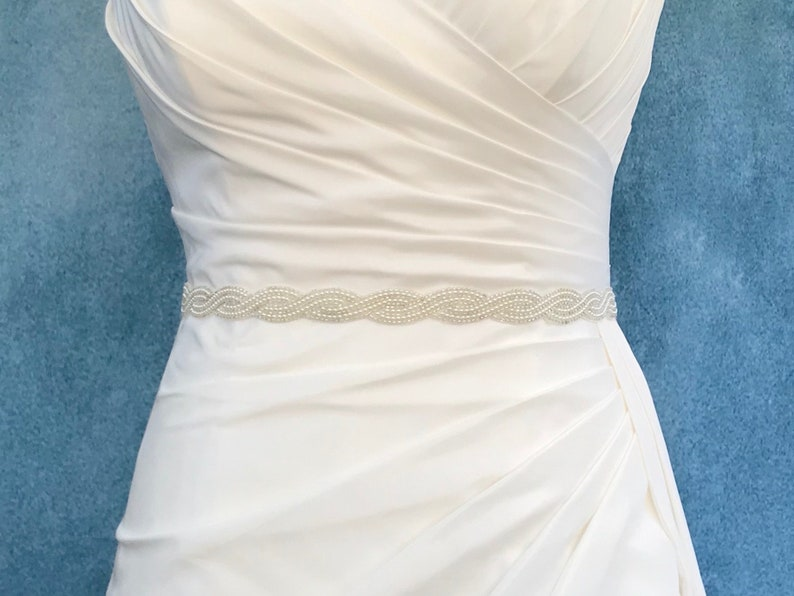 Hand Beaded Pearl And Silver Bridal Belt  Made To Measure  image 0