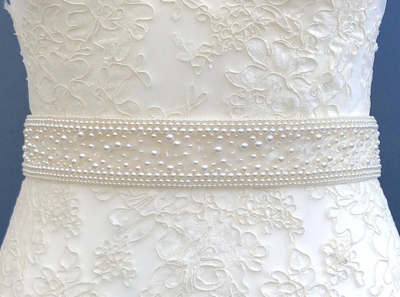 Pearl and crystal belt or sash  hand made in UK  ALICE image 0