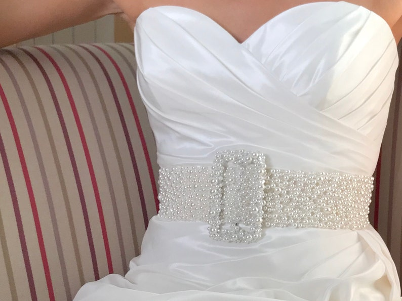Bridal Pearl And Crystal Belt and Buckle  hand made in UK  image 0