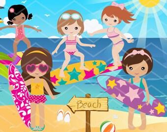Digital Surfer Girl Clip Art, Instant Download Surfing Girl Clipart, Summer Beach Party Clipart, Surf Clipart, Girl Surfer Clip Art 0164