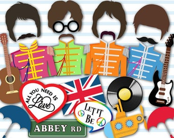 Printable Rock Star Photo Booth Props, Rock Star Party Photo Booth Props, Instant Download Beatles Inspired Party Photobooth Props 0028