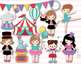Girls Circus Digital Clip Art, Baby Girl Circus Party, Circus Digital Clip Art, Circus Clipart, Carnival Clipart, Clown Girl,  0193