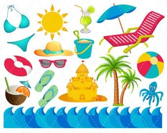 Digital Beach Vacation Clip Art Summer Fun Clipart Scrapbooking Ball Chair Umbrella Bikini Flipflops Sun 0131